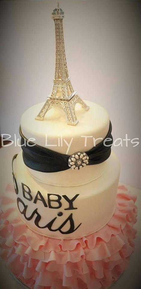 Beautiful Paris Themed Baby Shower Cake