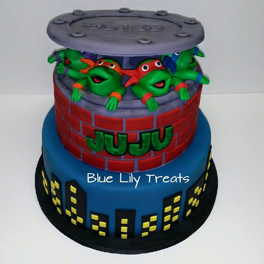 Super Tmnt Birthday Cake Blue Lily Treats Birthday Cards Printable Riciscafe Filternl