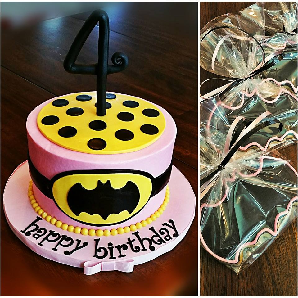 Batgirl Inspired 4th Birthday Cake With Decorated Cookies Blue