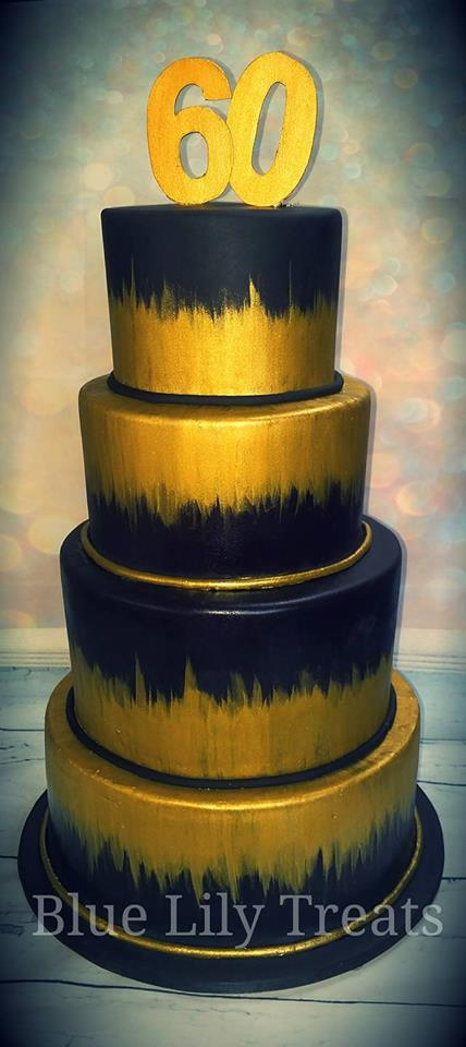 Gold And Black Hand Painted Birthday Cake Blue Lily Treats