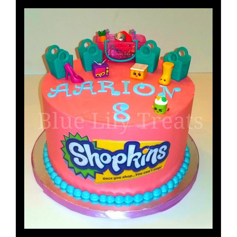 Admirable Shopkins Inspired Hot Pink Birthday Cake Blue Lily Treats Birthday Cards Printable Inklcafe Filternl