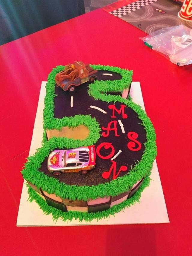 Dairy Free Number 5 Carved Birthday Cake Cars And Racing Theme